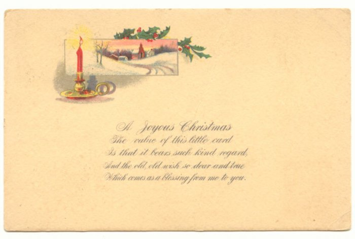 JOYOUS CHRISTMAS RED CANDLE WINTER SCENE Vintage  POSTCARD   60