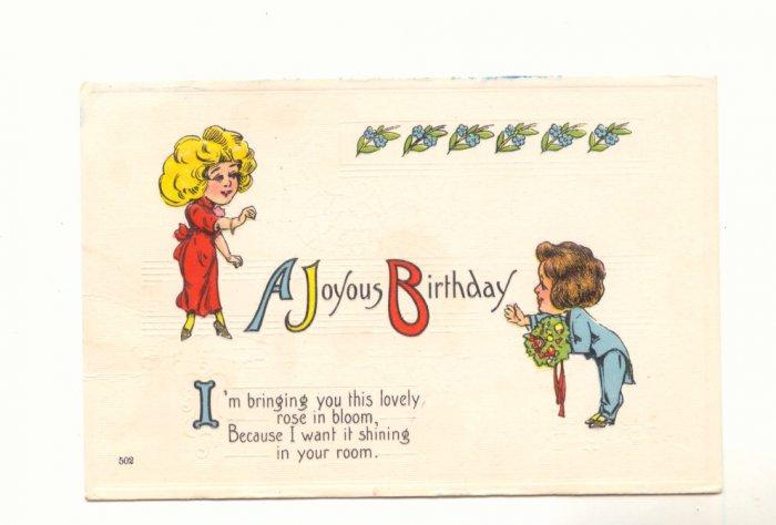 JOYOUS BIRTHDAY, VERSE, ROMANTIC COUPLE 1919 POSTCARD 74