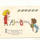 JOYOUS BIRTHDAY, VERSE, ROMANTIC COUPLE 1919 POSTCARD 74