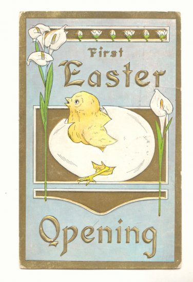FIRST EASTER OPENING CHICK EGG CALLA LILY 1911 POSTCARD  75