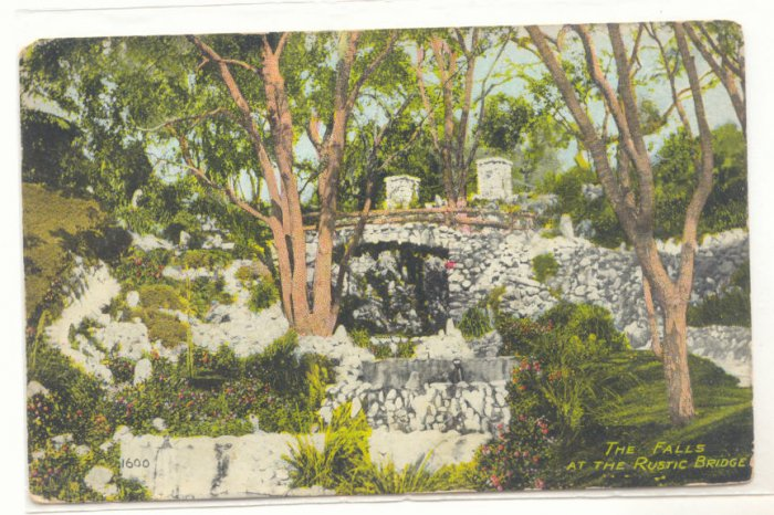 THE FALLS AT THE RUSTIC BRIDGE, STONE BRIDGE POSTCARD   82