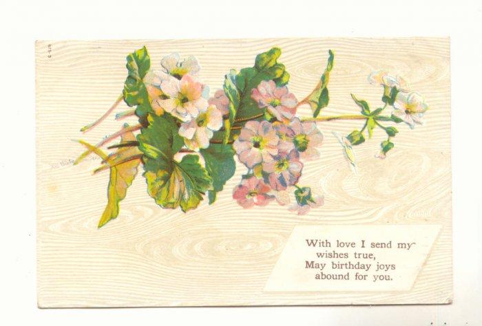 DAINTY GERANIUMS LOVING BIRTHDAY VINTAGE 1910 POSTCARD  85