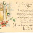 CHRISTMAS WISH, WREATHS, VINTAGE CALLING CARD   86