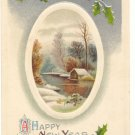 A HAPPY NEW YEAR, WINTER SCENE, VINTAGE POSTCARD   89