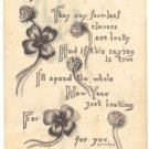HAPPY NEW YEAR CLOVERS VERSE, VINTAGE 1911 POSTCARD   90