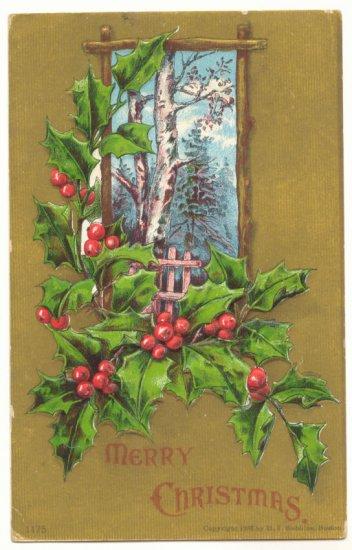 CHRISTMAS, VINTAGE POSTCARD, HOLLY, WINTER SCENE  119