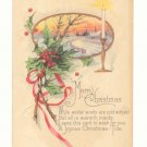 MERRY CHRISTMAS, HOLLY, CANDLELIGHT, SCENE POSTCARD  126