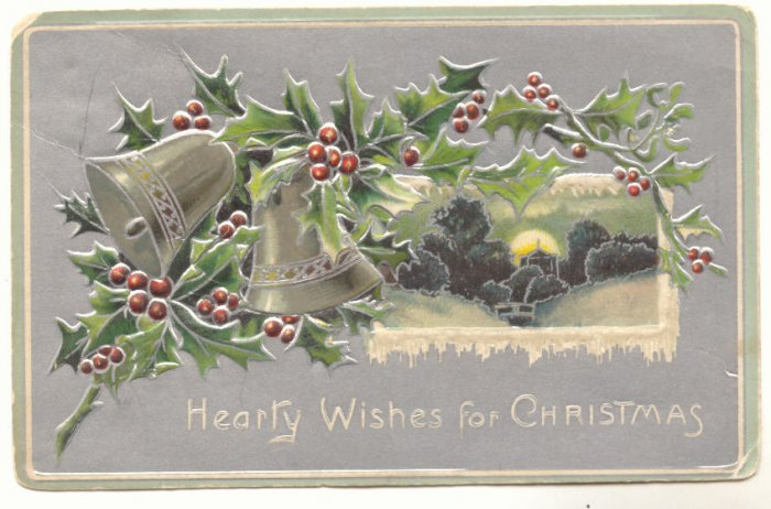 HEARTY WISHES, CHRISTMAS, SILVER BELLS, HOLLY POSTCARD   127