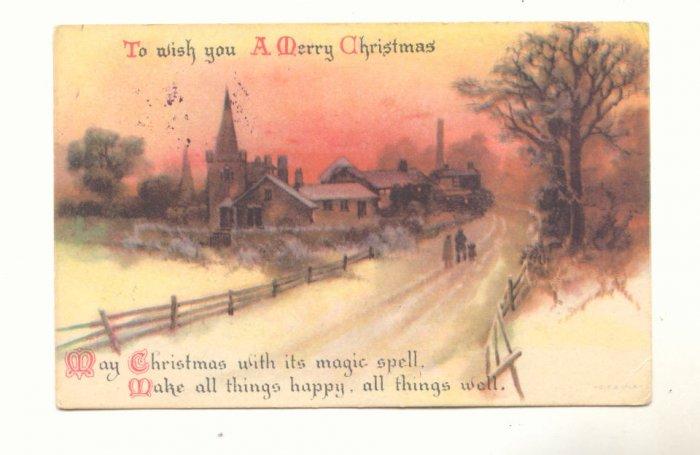 MERRY CHRISTMAS, SNOWY VILLAGE SCENE, VINTAGE POSTCARD   128