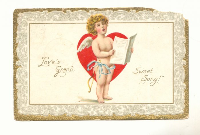 LOVES GRAND SWEET SONG, CUPID, HEART, VINTAGE POSTCARD   132