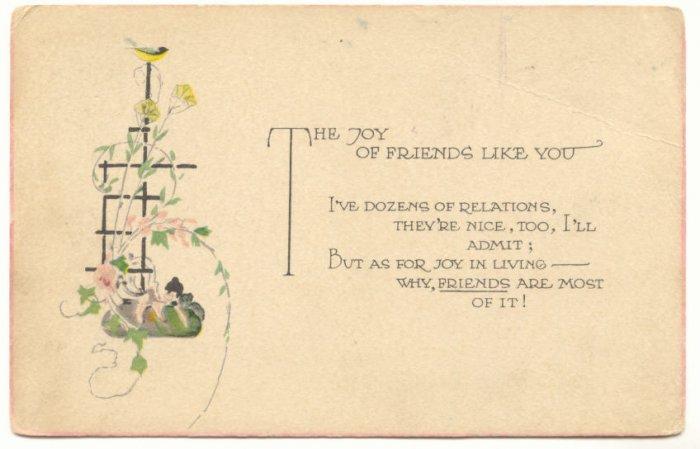 JOY OF FRIENDS LIKE YOU, BIRD TRELLIS FLOWERS POSTCARD   139