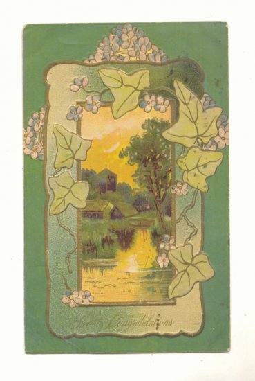 HEARTY CONGRATULATIONS, WATER SCENE, IVY, 1909 POSTCARD   141