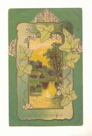 hearty congratulations, water scene, ivy, 1909 postcard 141
