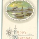 HAPPY BIRTHDAY, 1912 VINTAGE POSTCARD ROWBOAT SCENE     #152
