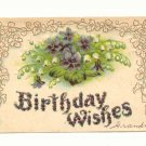 BIRTHDAY WISHES, VIOLETS, LILY OF THE VALLEY POSTCARD    #154