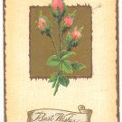 BEST WISHES, SWEET MOSS ROSES, VINTAGE 1911 POSTCARD   #160