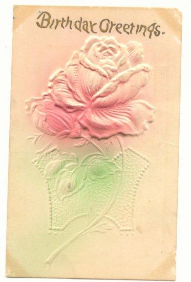 HEAVY EMBOSSED BIRTHDAY GREETINGS, ROSE POSTCARD   #165