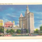 CITY HALL PARK, NEW YORK CITY, VINTAGE UNUSED POSTCARD    #175