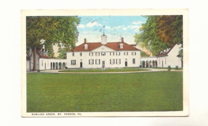 BOWLING GREEN, MT. VERNON, VIRGINIA  VINTAGE 1927 POSTCARD  #183