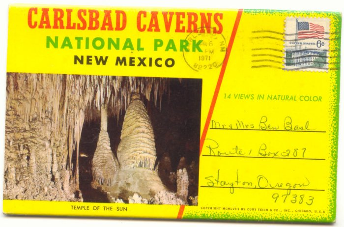 CARLSBAD CAVERNS, NEW MEXICO, SOUVENIR FOLDER,  VINTAGE POSTCARDS #185