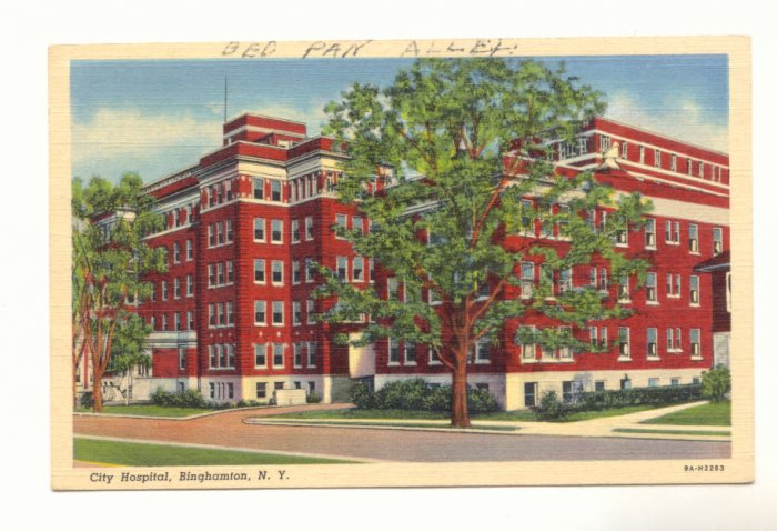 CITY HOSPITAL BINGHAMTON NEW YORK VINTAGE 1944 POSTCARD   #188