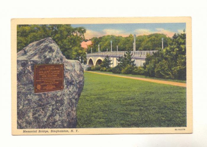 MEMORIAL BRIDGE BINGHAMTON NEW YORK 1944 POSTCARD   #199