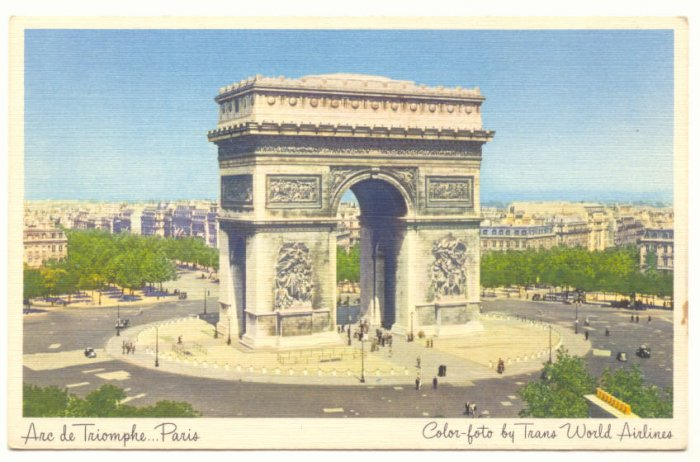 ARC de TRIOMPHE PARIS, TRANS WORLD AIRLINES POSTCARD   #206