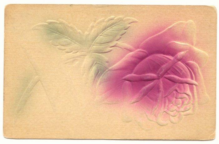LARGE HEAVY EMBOSSED ROSE VINTAGE 1914 ANTIQUE POSTCARD   #210