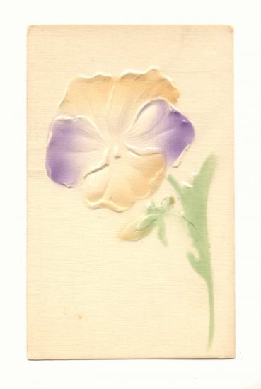 LARGE HEAVY EMBOSSED PANSY, VINTAGE UNUSED POSTCARD   #212