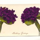 BIRTHDAY GREETINGS, VINTAGE 1914 POSTCARD , VIOLETS   #213