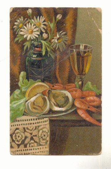 RAW OYSTERS, SHRIMP, WINE, VASE OF DAISIES VINTAGE POSTCARD #219