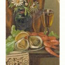 RAW OYSTERS, SHRIMP, WINE, VASE OF DAISIES VINTAGE POSTCARD #219