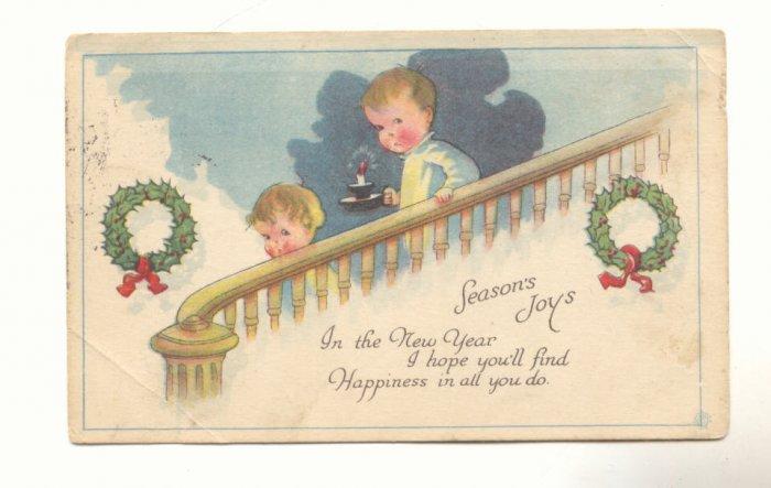 SEASON'S JOY, CHILDREN SNEAKING DOWNSTAIRS POSTCARD   #236