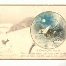 MERRY CHRISTMAS, MOONLIT WINTER SCENE, DEER, POSTCARD #238