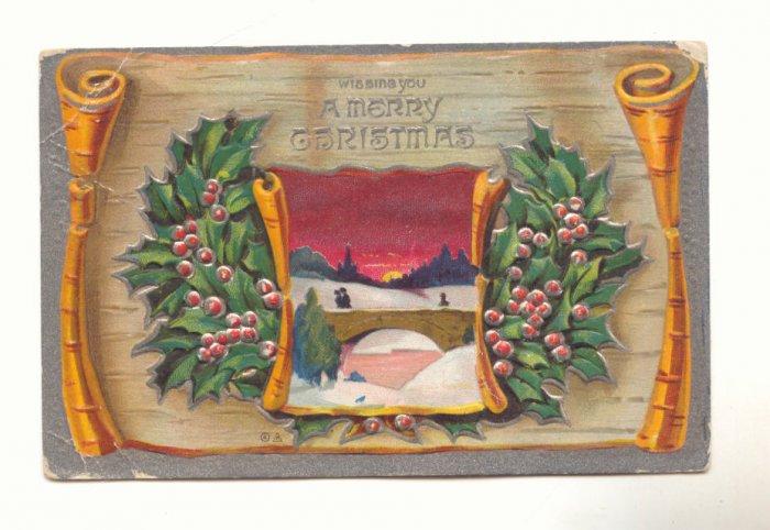 MERRY CHRISTMAS, WINTER SCENE HOLLY VINTAGE POSTCARD   #240