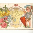 BIRTHDAY, YOUNG BOY IN ARMOR, HEART, ROSES VINTAGE 1910   POSTCARD #242