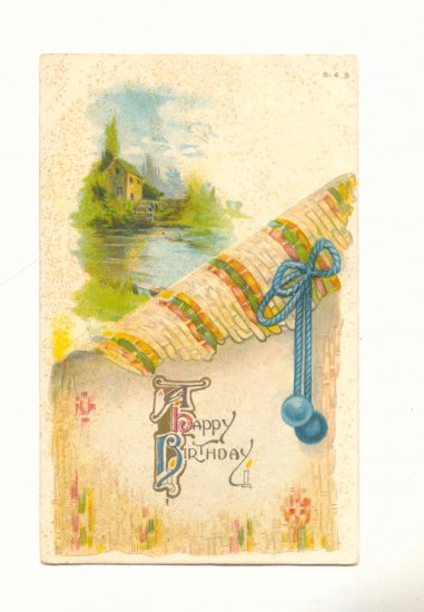 HAPPY BIRTHDAY, WATERMILL SCENE VINTAGE POSTCARD   #243