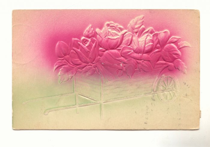HEAVY EMBOSSED, WAGON OF ROSES, VINTAGE 1908 POSTCARD   #244