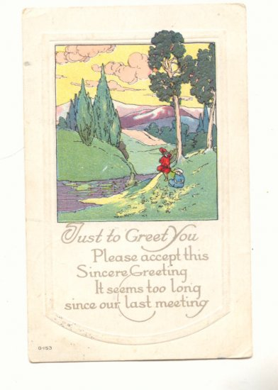 JUST TO GREET YOU, PRETTY PARK SCENE VINTAGE POSTCARD   #248