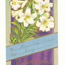 EASTER GREETING, EASTER LILIES, GOLD VINTAGE POSTCARD   #249