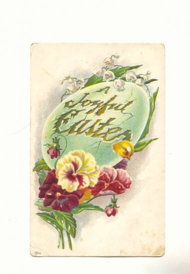 JOYFUL EASTER, LARGE EGG, PANSIES LILY OF THE VALLEY  POSTCARD #250