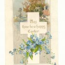 MAY THINE BE A HAPPY EASTER, CROSS, FLOWERS, POSTCARD  #257