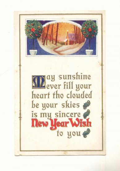 NEW YEARS WISH, MAY SUNSHINE EVER FILL YOUR HEART POSTCARD #268
