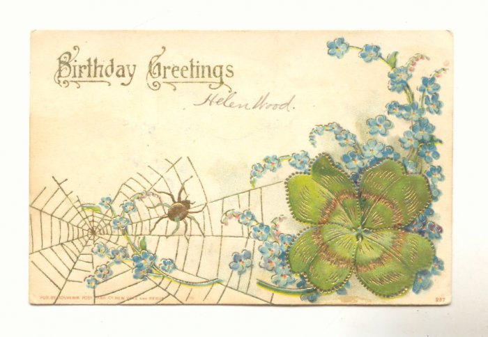 BIRTHDAY, SPIDER ON WEB, FORGET ME NOTS, CLOVER 1907   #280