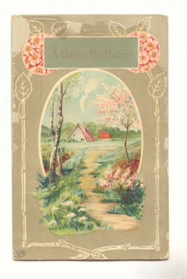 HAPPY BIRTHDAY, SWEET COUNTRY COTTAGE SCENE, POSTCARD   #285