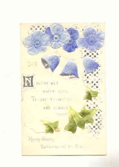 HAPPY RETURNS, BLUE POPPIES, BELLS, IVY, SILVER POSTCARD #288