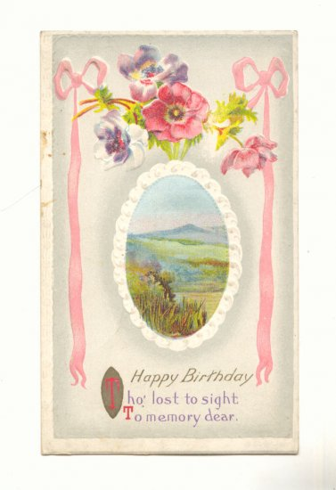 HAPPY BIRTHDAY, COLORFUL POPPIES, MOUNTAIN SCENE POSTCARD #290
