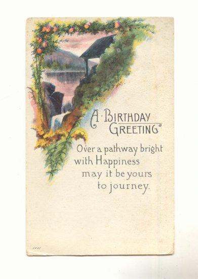 BIRTHDAY GREETING, PRETTY SCENE, ROSES 1916 POSTCARD   #292