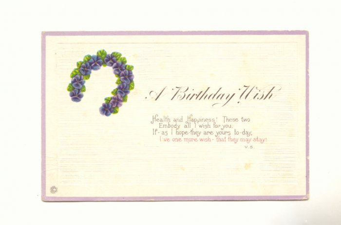 BIRTHDAY WISH, PANSY HORSESHOE, VERSE 1922 POSTCARD    #298