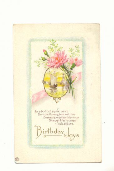 BIRTHDAY JOYS, SAILBOAT SCENE, PINK CARNATIONS VERSE  #301